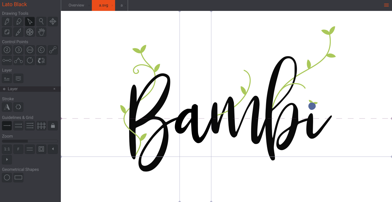 Example of editing a font in Birdfont.